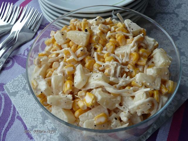 Sałatka awaryjna zananasa, kukurydzy iselera, sałatka zananasem, sałatka zkukurydzą, sałatka wegetariańska, szybka sałatka, sałatka imprezowa - Kolorowy Przepisownik