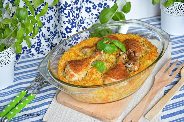 Udka z ryżem i warzywami, jednogarnkowe