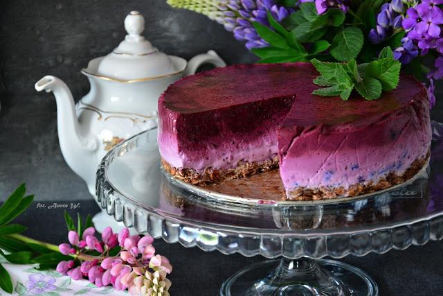 Jogurtowiec jagodowy naowsianym spodzie (FIT, bezpieczenia)