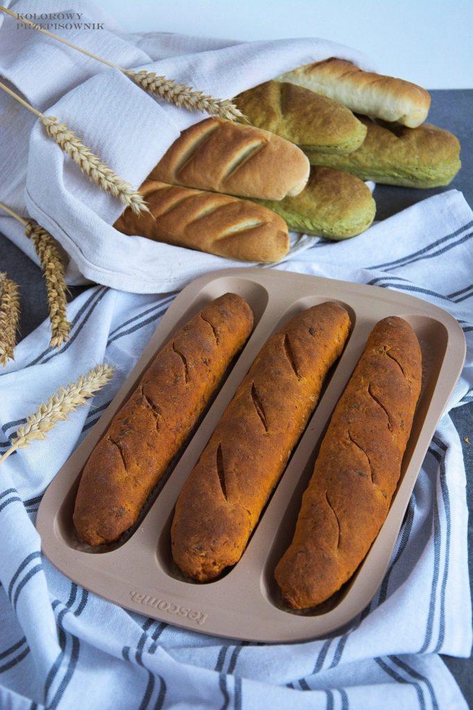 Bagietki Bagietki - 3 sposoby naciasto, bagietki w3 smakach, bagietki pszenne, bagietki zsuszonymi pomidorami, bagietki rukola zeszpinakiem