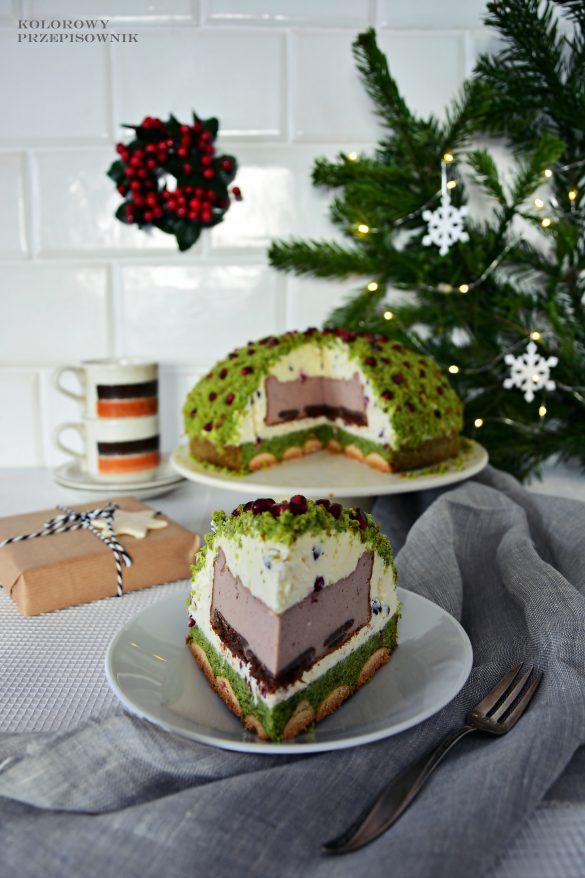 Leśny mech z niespodzianką, sernik, tort