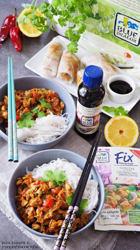Kurczak w sosie czosnkowo-imbirowym, kurczak z makaronem ryżowym, danie orientalne, kurczak orientalny, kuchnia orientalna - Kolorowy Przepisownik