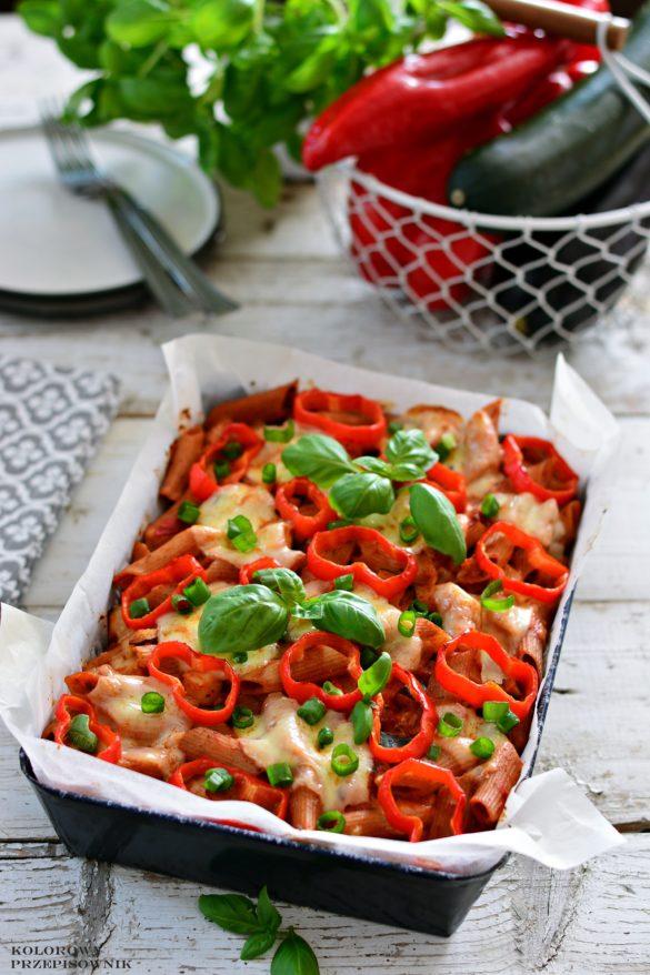 Zapiekanka makaronowo-warzywna, zapiekanka wegetariańska, obiad, kolacja, przepis na zapiekankę - Kolorowy Przepisownik