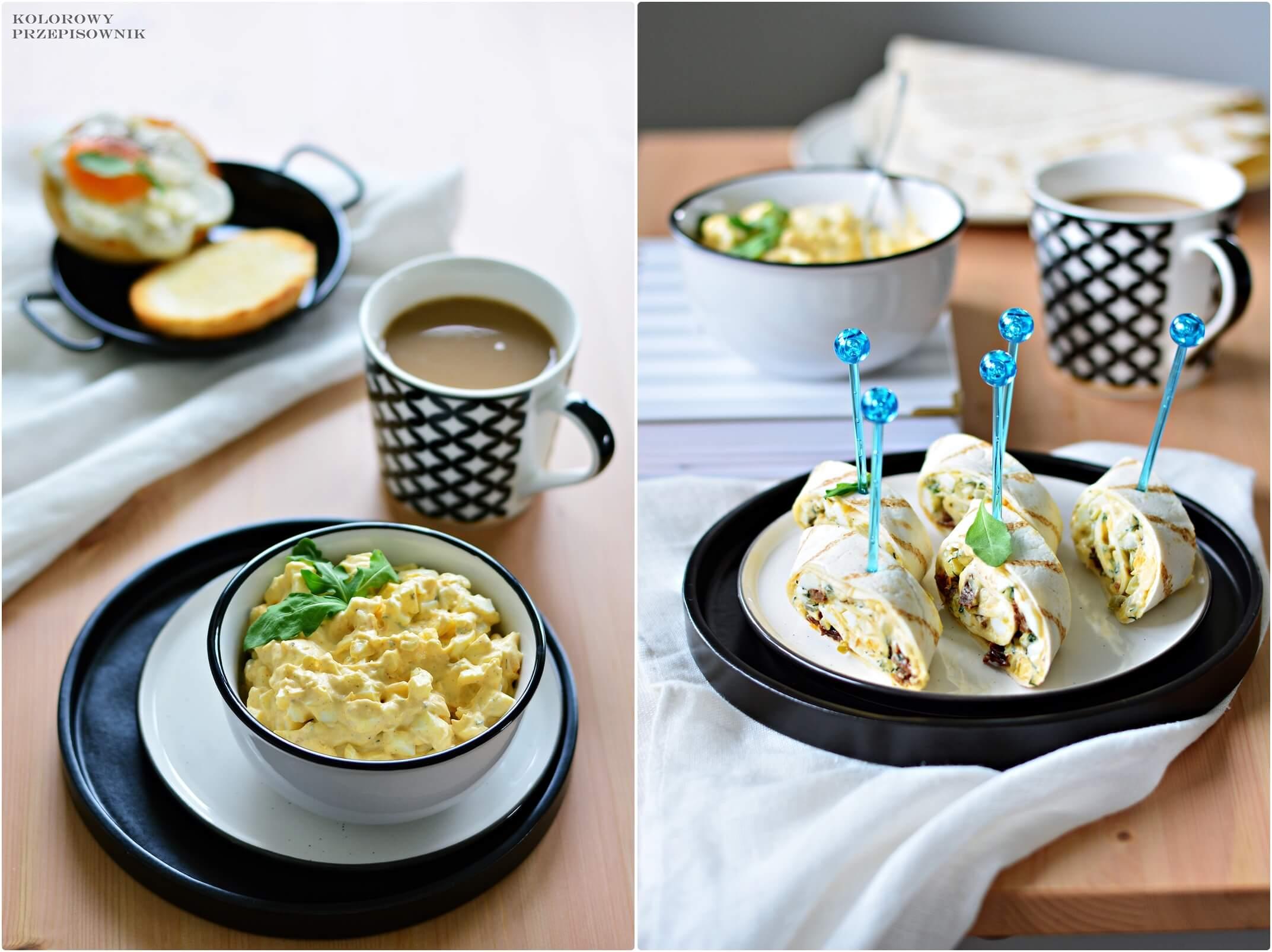 Sniadanie zjajkiem na4 sposoby, pasta jajeczna, roladki ztortilli, roladki ztortilli zpasta jajeczna