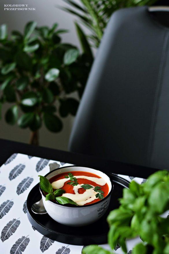 Zupa krem z pieczonych pomidorow, zupa pomidorowa, pieczona pomidorowa, krem pomidorowy - Kolorowy Przepisownik, sprawdzone przepisy