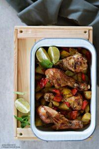 Udka kurczaka pieczone w rękawie z ziemniakami i papryka, pieczone udka, palki kurczaka, obiad z kurczarkiem, obiad z piekarnika - Kolorowy Przepisownik